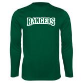 Performance Dark Green Longsleeve Shirt-Rangers Wordmark