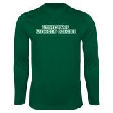 Performance Dark Green Longsleeve Shirt-University of Wisconsin-Parkside