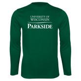 Performance Dark Green Longsleeve Shirt-Parkside Wordmark Vertical