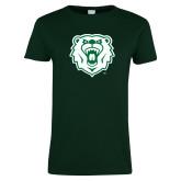 Ladies Dark Green T Shirt-Athletic Bear Head