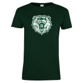 Ladies Dark Green T Shirt-Bear Head Distressed
