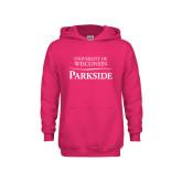 Youth Raspberry Fleece Hoodie-Parkside Wordmark Vertical