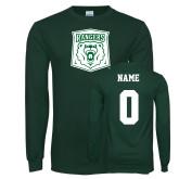Dark Green Long Sleeve T Shirt-Primary Athletic Mark, Custom tee w/ name and #
