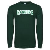 Dark Green Long Sleeve T Shirt-Rangers Wordmark