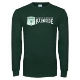 Dark Green Long Sleeve T Shirt-Primary Athletic Mark with Wordmark