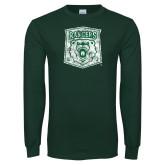 Dark Green Long Sleeve T Shirt-Primary Logo Distressed