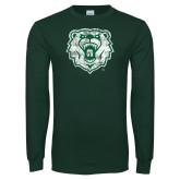 Dark Green Long Sleeve T Shirt-Bear Head Distressed