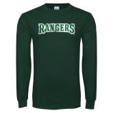 Dark Green Long Sleeve T Shirt-Rangers Wordmark  Distressed