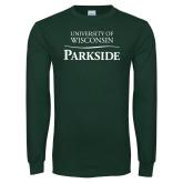 Dark Green Long Sleeve T Shirt-Parkside Wordmark Vertical