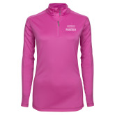 Ladies Syntrel Interlock Raspberry 1/4 Zip-Parkside Wordmark Vertical