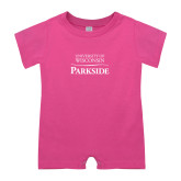 Bubble Gum Pink Infant Romper-Parkside Wordmark Vertical