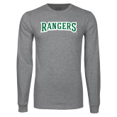 Grey Long Sleeve T Shirt-Rangers Wordmark