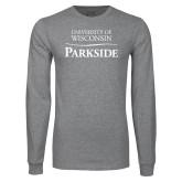 Grey Long Sleeve T Shirt-Parkside Wordmark Vertical