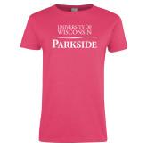 Ladies Fuchsia T Shirt-Parkside Wordmark Vertical