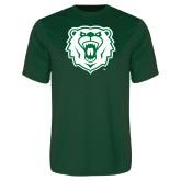 Performance Dark Green Tee-Athletic Bear Head