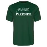 Performance Dark Green Tee-Parkside Wordmark Vertical