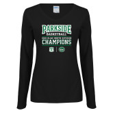 Ladies Black Long Sleeve V Neck Tee-Championships