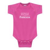 Fuchsia Infant Onesie-Parkside Wordmark Vertical