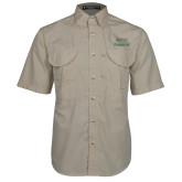 Khaki Short Sleeve Performance Fishing Shirt-Parkside Wordmark Vertical