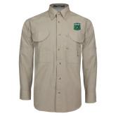 Khaki Long Sleeve Performance Fishing Shirt-Primary Athletic Mark