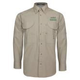 Khaki Long Sleeve Performance Fishing Shirt-Parkside Wordmark Vertical