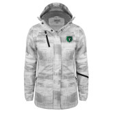 Ladies White Brushstroke Print Insulated Jacket-Athletic Bear Head
