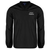 V Neck Black Raglan Windshirt-Parkside Wordmark Vertical