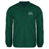 V Neck Dark Green Raglan Windshirt-Parkside Wordmark Vertical