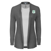 Ladies Heather Grey Open Front Cardigan-Primary Athletic Mark