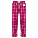 Ladies Dark Fuchsia/White Flannel Pajama Pant-Primary Athletic Mark