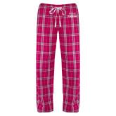 Ladies Dark Fuchsia/White Flannel Pajama Pant-Parkside Wordmark Vertical