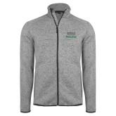 Grey Heather Fleece Jacket-Parkside Wordmark Vertical