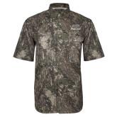 Camo Short Sleeve Performance Fishing Shirt-Parkside Wordmark Vertical