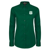 Ladies Dark Green Twill Button Down Long Sleeve-Primary Athletic Mark