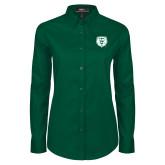 Ladies Dark Green Twill Button Down Long Sleeve-Athletic Bear Head