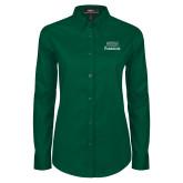 Ladies Dark Green Twill Button Down Long Sleeve-Parkside Wordmark Vertical