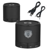Wireless HD Bluetooth Black Round Speaker-Athletic Bear Head Engraved