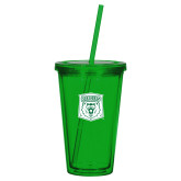 Madison Double Wall Green Tumbler w/Straw 16oz-Primary Athletic Mark