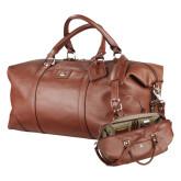Cutter & Buck Brown Leather Weekender Duffel-Wabash Engraved