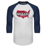 White/Navy Raglan Baseball T-Shirt-Wabash
