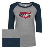 ENZA Ladies Athletic Heather/Navy Vintage Triblend Baseball Tee-Wabash