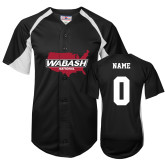 Replica Black Adult Baseball Jersey-Wabash