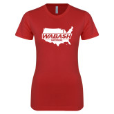Next Level Ladies SoftStyle Junior Fitted Red Tee-Wabash