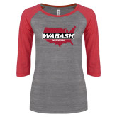 ENZA Ladies Athletic Heather/Red Vintage Triblend Baseball Tee-Wabash