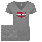 ENZA Ladies Graphite Melange V Neck Tee-Wabash