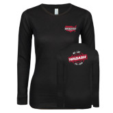 Ladies Black Long Sleeve V Neck T Shirt-Wabash