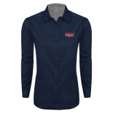 Ladies Navy Twill Button Down Long Sleeve-Wabash