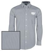 Mens Navy/White Striped Long Sleeve Shirt-Wabash