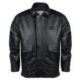 Black Leather Bomber Jacket-Wabash