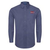 Mens Deep Blue Crosshatch Poplin Long Sleeve Shirt-Wabash